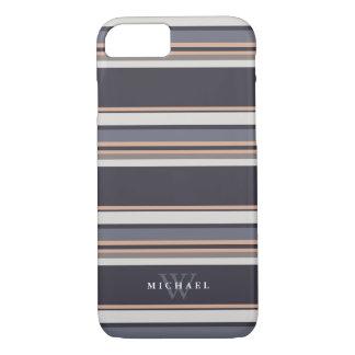 Stormy Stripes Custom Name & Monogram iPhone 8/7 Case