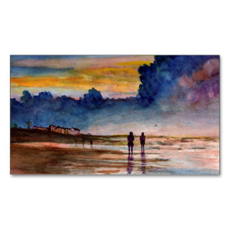 Stormy Sunset Beach Combing Watercolor Seascape Magnetic Business Cards