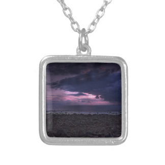 Stormy Sunset Square Pendant Necklace
