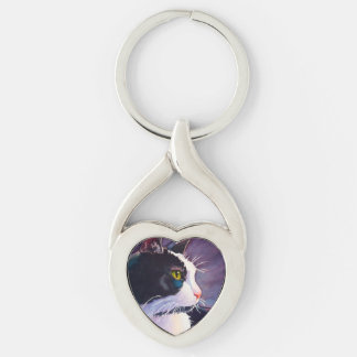 Stormy Tuxedo Cat Silver-Colored Twisted Heart Key Ring