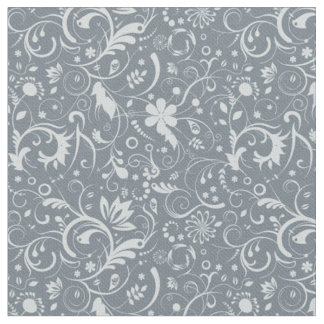 Stormy Weather blue Floral Swirls Fabric