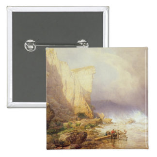 Stormy Weather, Clearing Seaton Cliffs 15 Cm Square Badge