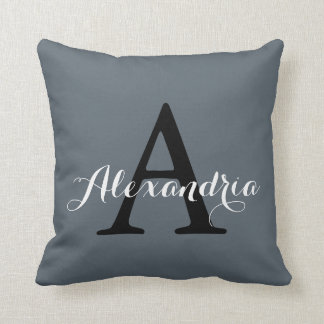 Stormy Weather Slate Gray Solid Color Monogram Cushion
