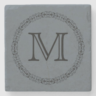 Stormy Weather Slate Gray Solid Color Monogram Stone Coaster