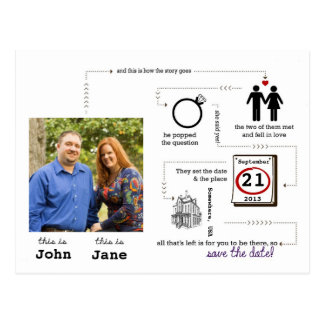 story save-the-date postcard