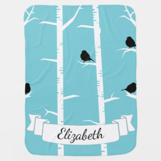 Storybook Birch Trees & Black Birds Baby's Name Baby Blanket