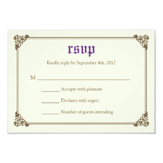 Storybook Fairytale Wedding RSVP Card - Purple