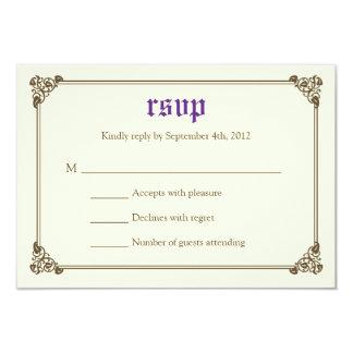 Storybook Fairytale Wedding RSVP Card - Purple 9 Cm X 13 Cm Invitation Card