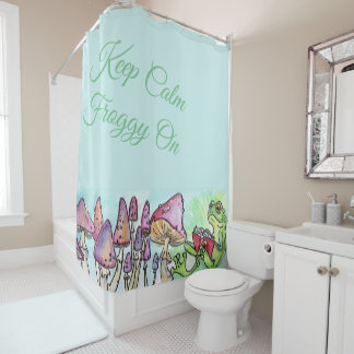 Storybook Frog Reading, Keep Calm Froggy On Shower Curtain