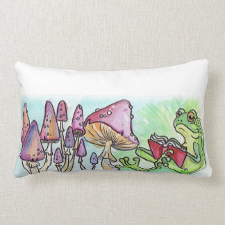 Storybook Frog Reading Lumbar Cushion