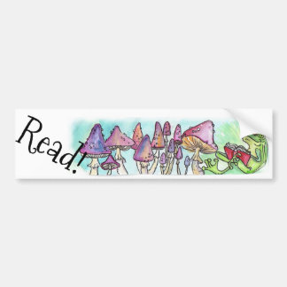 "Storybook Frog Reading ""Read!"" Bumper Sticker"