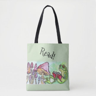 Storybook Frog Reading Tote Bag