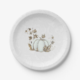 Storybook Gold White Pumpkin Fairy Tale Party Paper Plate