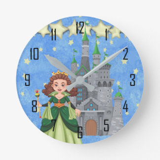 Storybook Princess in Green With Castle and Stars Round Clock