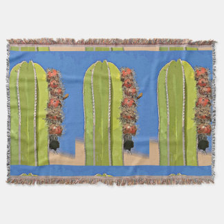 Stove Pipe Cactus in Cartoon Throw Blanket