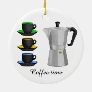Stove Top Espresso Make And Cups Pattern Round Ceramic Decoration