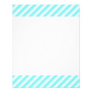 [STR-AQ-1] Aqua and white candy cane striped 11.5 Cm X 14 Cm Flyer