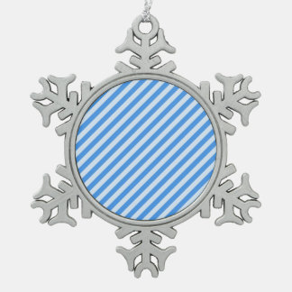 [STR-BLU-01] Blue candy cane striped Snowflake Pewter Christmas Ornament
