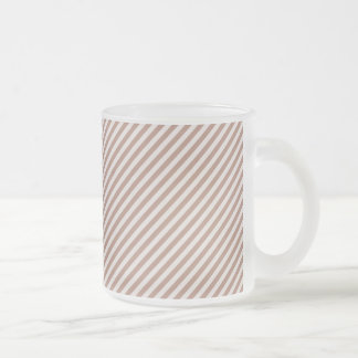 [STR-BRO-1] Brown and white striped Frosted Glass Coffee Mug