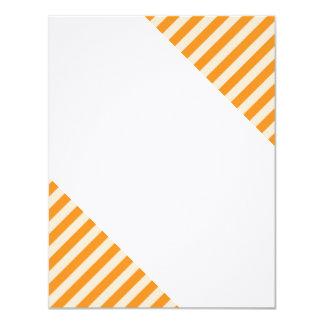 [STR-OR-1] Orange and white candy cane striped 11 Cm X 14 Cm Invitation Card