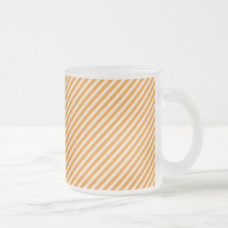 [STR-OR-1] Orange and white candy cane striped Frosted Glass Coffee Mug