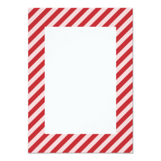 [STR-RD-1] Red and white candy cane striped 11 Cm X 16 Cm Invitation Card