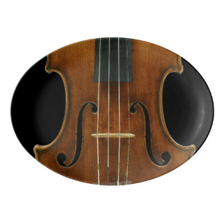 Stradivari Violin Detail on Black Porcelain Serving Platter
