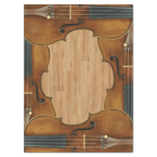 Stradivari Violin Quartet on Wood Panel Effect Tissue Paper