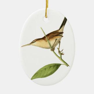 Straight-billed Wren Bird Illustration by William Ceramic Oval Decoration