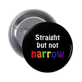 Straight but not narrow (black background) 6 cm round badge
