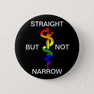 Straight But Not Narrow Rainbow Health Coalition 6 Cm Round Badge