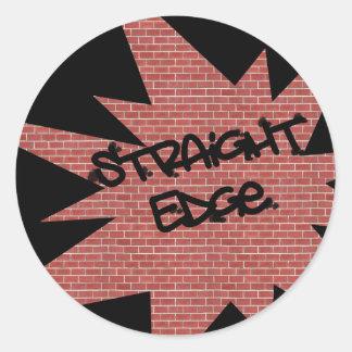 Straight Edge Brick Wall Round Sticker