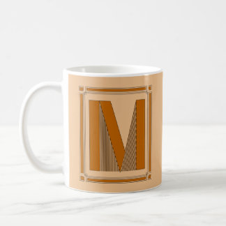 Straight lines art deco with monogram, letter M Basic White Mug