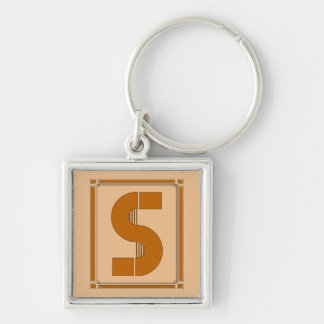 Straight lines art deco with monogram, letter S Silver-Colored Square Key Ring