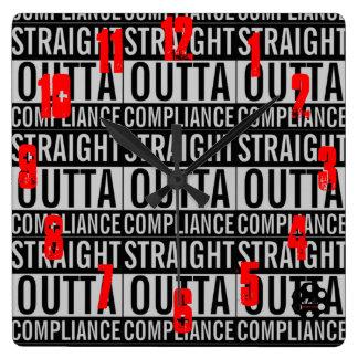 Straight Outta Compliance w/Logo Square Wall Clock