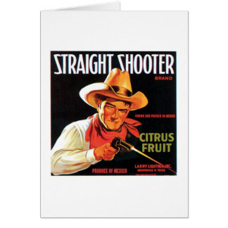 Straight Shooter Citrus Fruit Vintage Crate Label Greeting Card