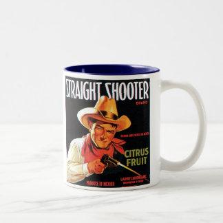 Straight Shooter Citrus Fruit Vintage Crate Label Two-Tone Mug