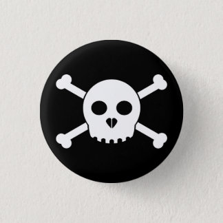 Straight White Deth's Head Button