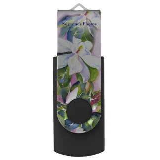 Strand of Flowers in Watercolor with Your Name USB Flash Drive