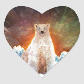 Stranded Polarbear Heart Sticker