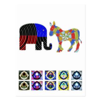 Strange Bed Fellows : POLITICS Elephant n Donkey Postcards