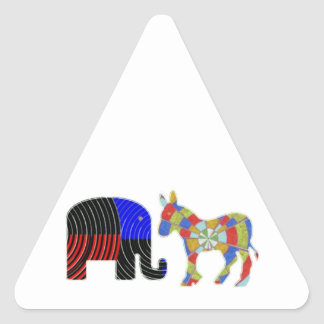 Strange Bed Fellows : POLITICS Elephant n Donkey Triangle Sticker