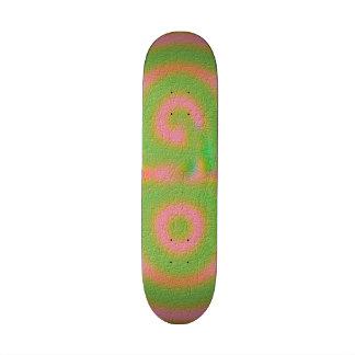 Strange colored pattern skate board deck