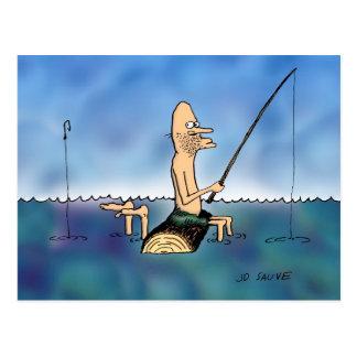 Strange Day Fishing Cartoon Postcard