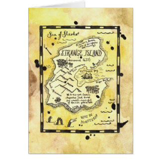 Strange Island Pirate Treasure Map Card