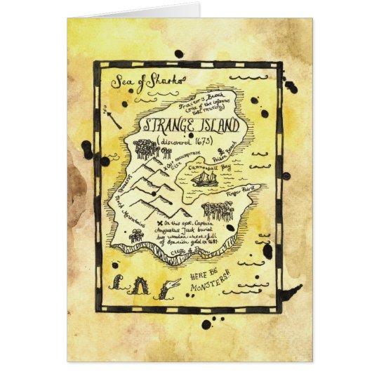 Strange Island Pirate Treasure Map Card