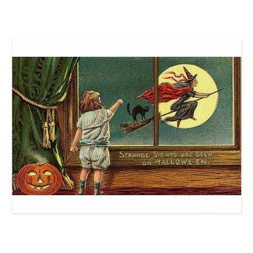 Strange Sights Are Seen on Halloween, Child, Cat,  Post Card