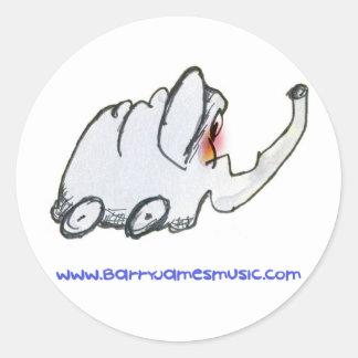 Strange Slumber - elephant on wheels! Classic Round Sticker