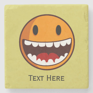 Strange smiley classic stone coaster
