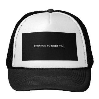 STRANGE TO MEET YOU DARK FUNNY INSULTS SAYINGS COM MESH HATS